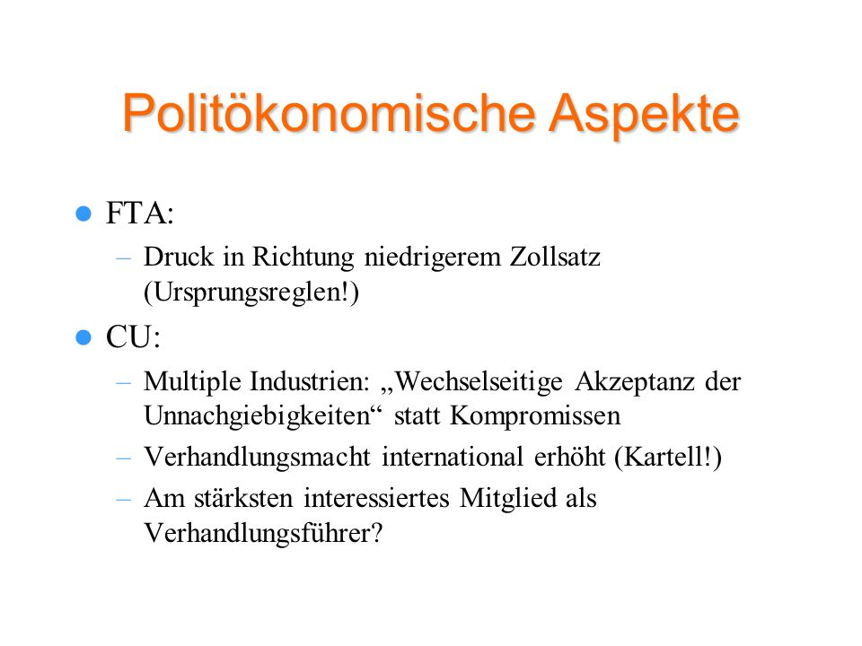 Politökonomische Aspekte