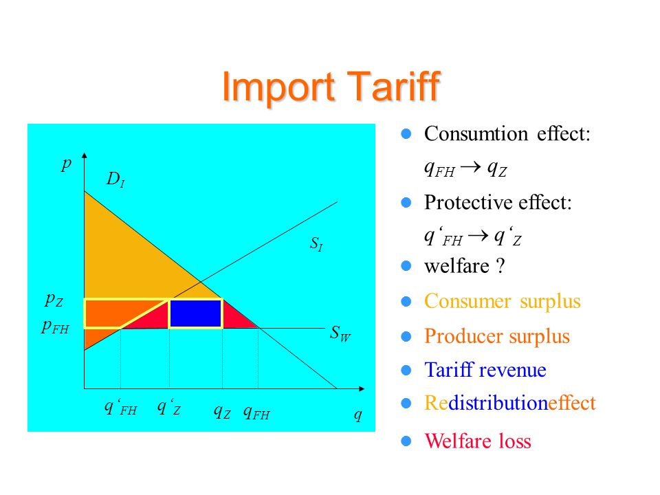 Import Tariff Consumtion effect: qFH  qZ Protective effect: