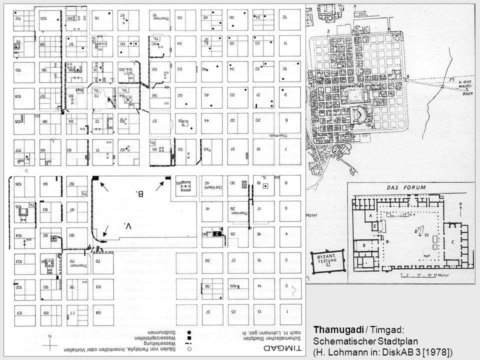 Thamugadi / Timgad: Schematischer Stadtplan (H