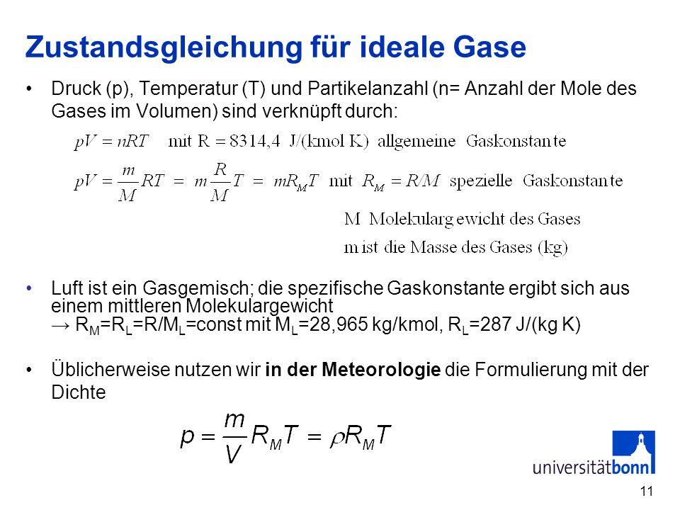 Zustandsgleichung für ideale Gase