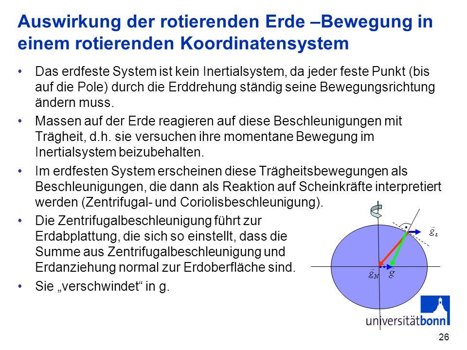 Auswirkung der rotierenden Erde –Bewegung in einem rotierenden Koordinatensystem