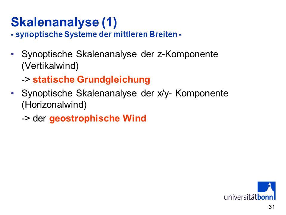 Skalenanalyse (1) - synoptische Systeme der mittleren Breiten -