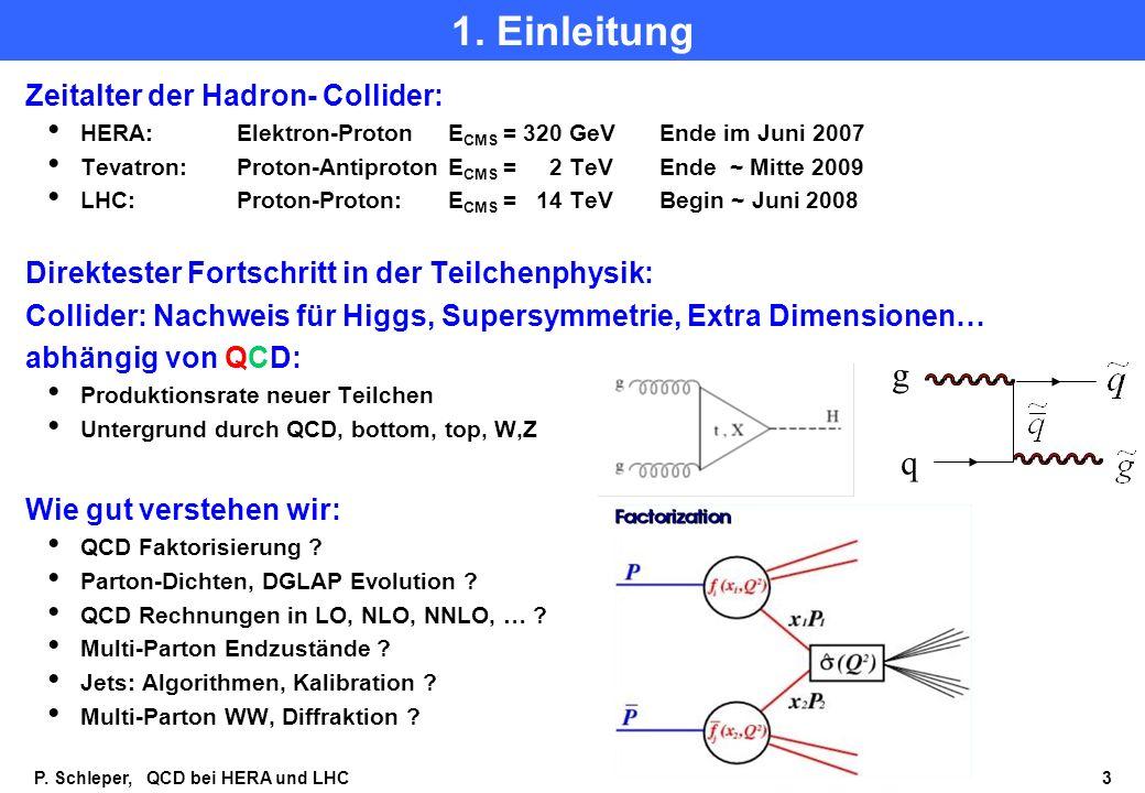1. Einleitung g q Zeitalter der Hadron- Collider: