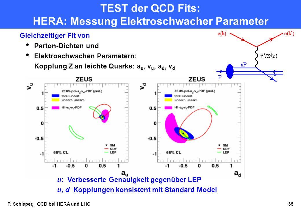 TEST der QCD Fits: HERA: Messung Elektroschwacher Parameter