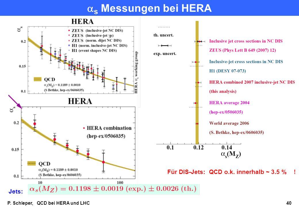 as Messungen bei HERA Für DIS-Jets: QCD o.k. innerhalb ~ 3.5 % ! Jets: