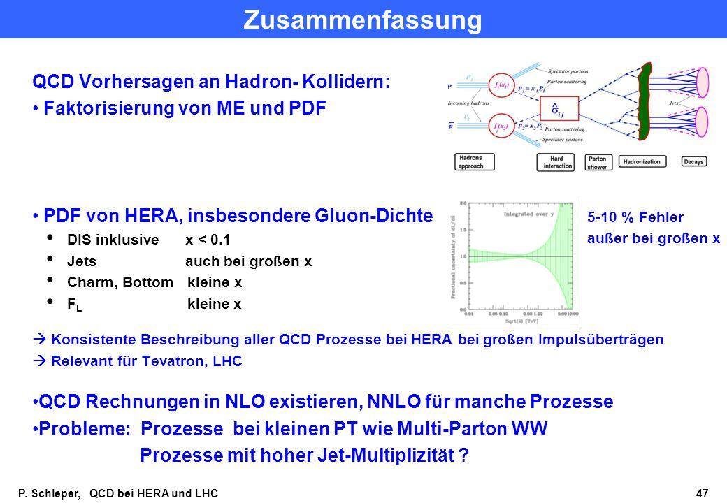 Zusammenfassung QCD Vorhersagen an Hadron- Kollidern: