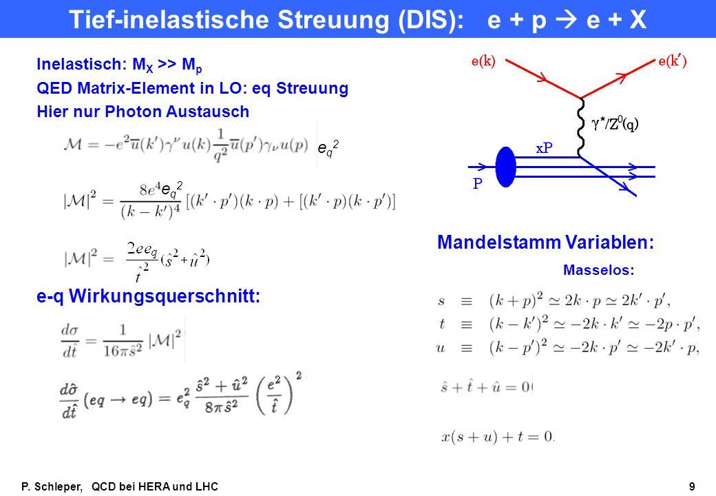 Tief-inelastische Streuung (DIS): e + p  e + X