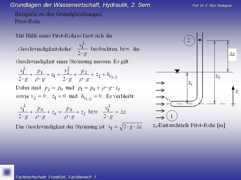 Beispiele zu den Grundgleichungen, Pitot-Rohr