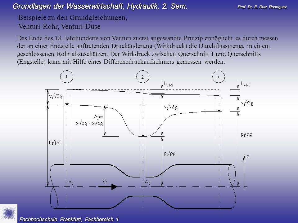 Beispiele zu den Grundgleichungen, Venturi-Rohr, Venturi-Düse