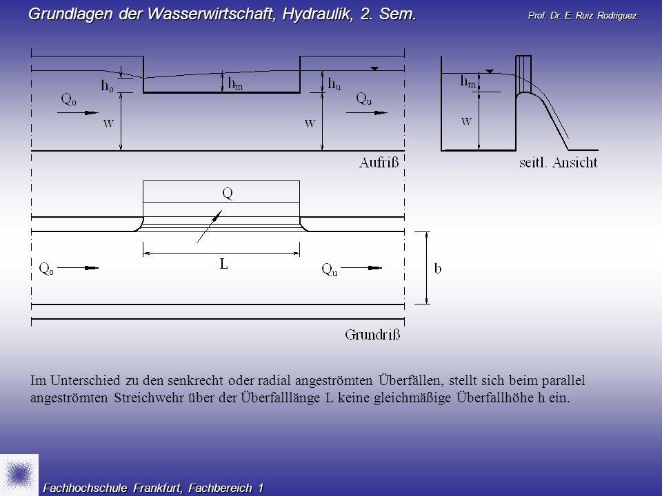 Im Unterschied zu den senkrecht oder radial angeströmten Überfällen, stellt sich beim parallel angeströmten Streichwehr über der Überfalllänge L keine gleichmäßige Überfallhöhe h ein.