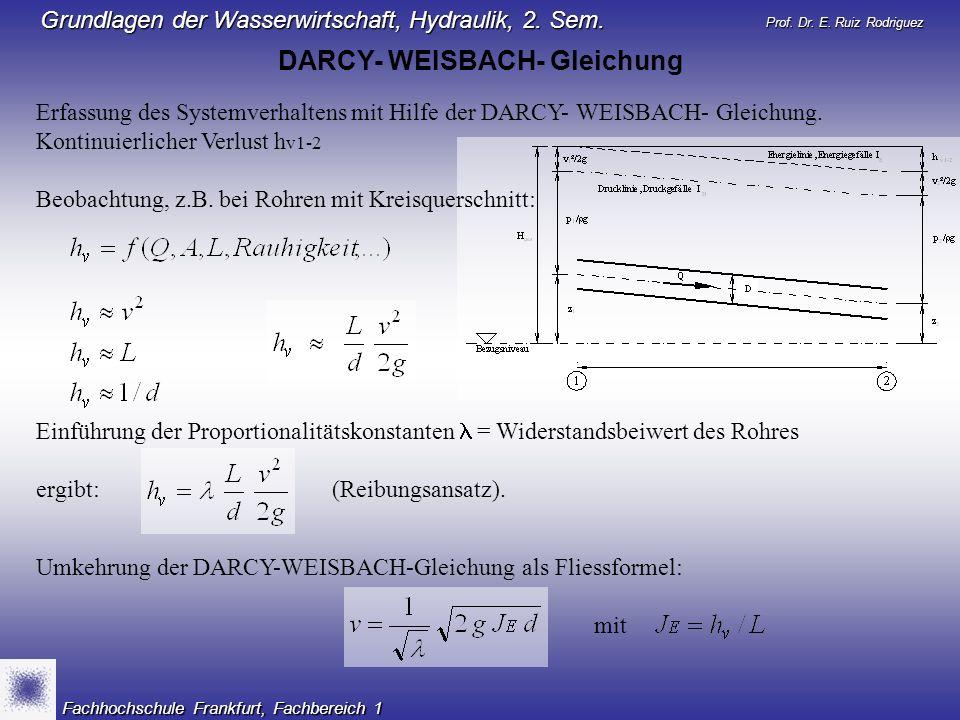 DARCY- WEISBACH- Gleichung