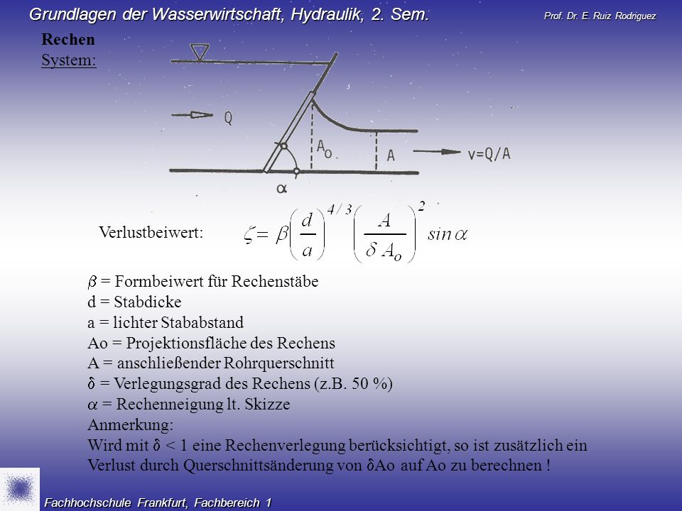 Rechen System: Verlustbeiwert:  = Formbeiwert für Rechenstäbe. d = Stabdicke. a = lichter Stababstand.