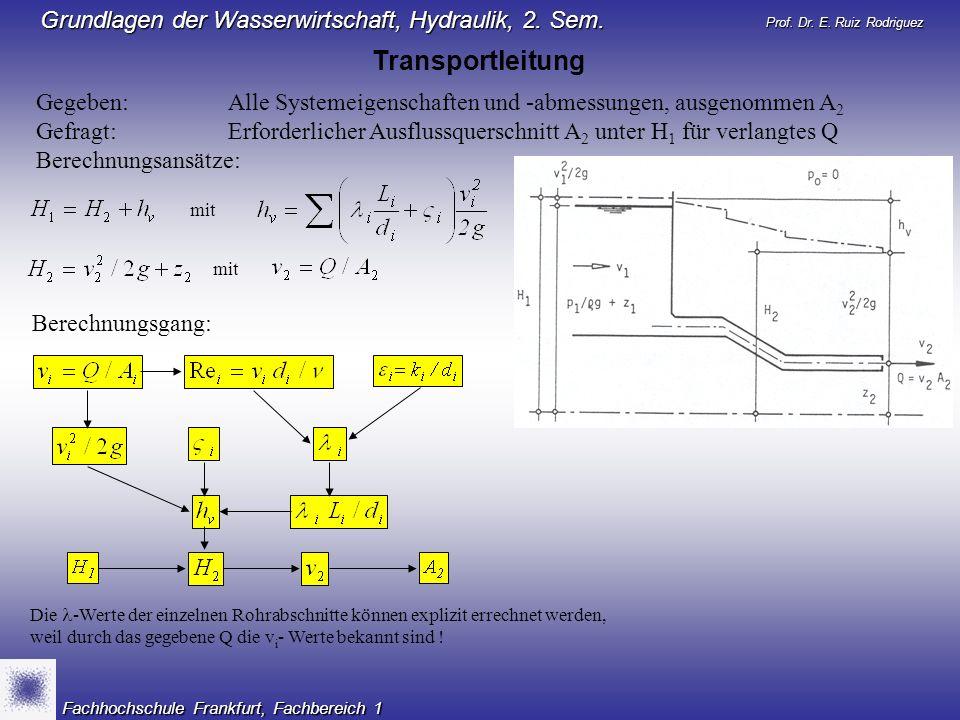 Transportleitung Gegeben: Alle Systemeigenschaften und -abmessungen, ausgenommen A2.