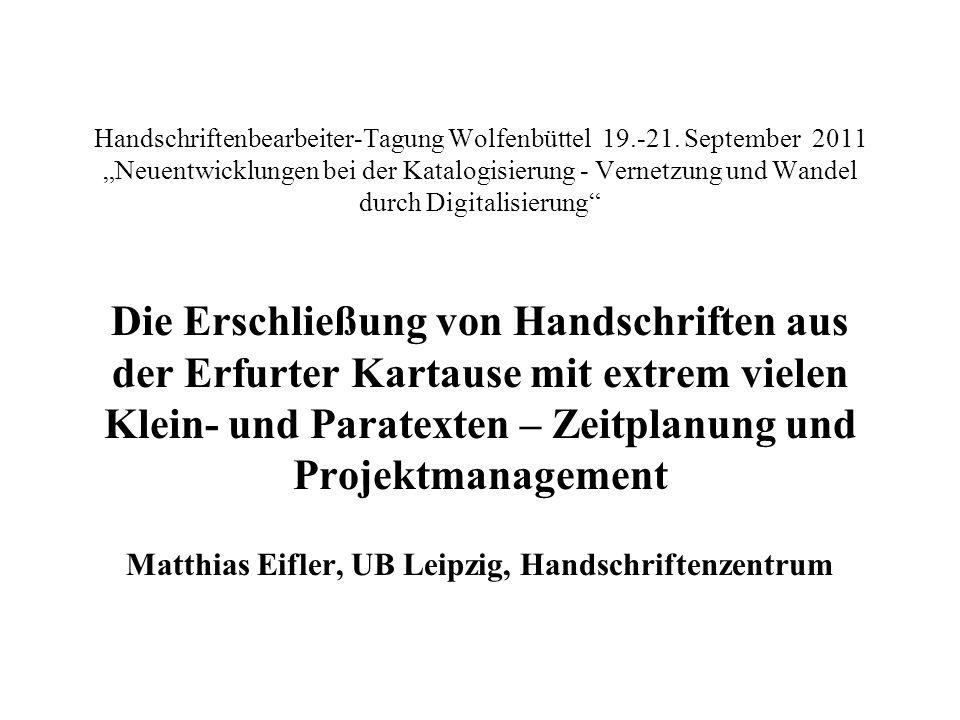 Handschriftenbearbeiter-Tagung Wolfenbüttel 19. -21