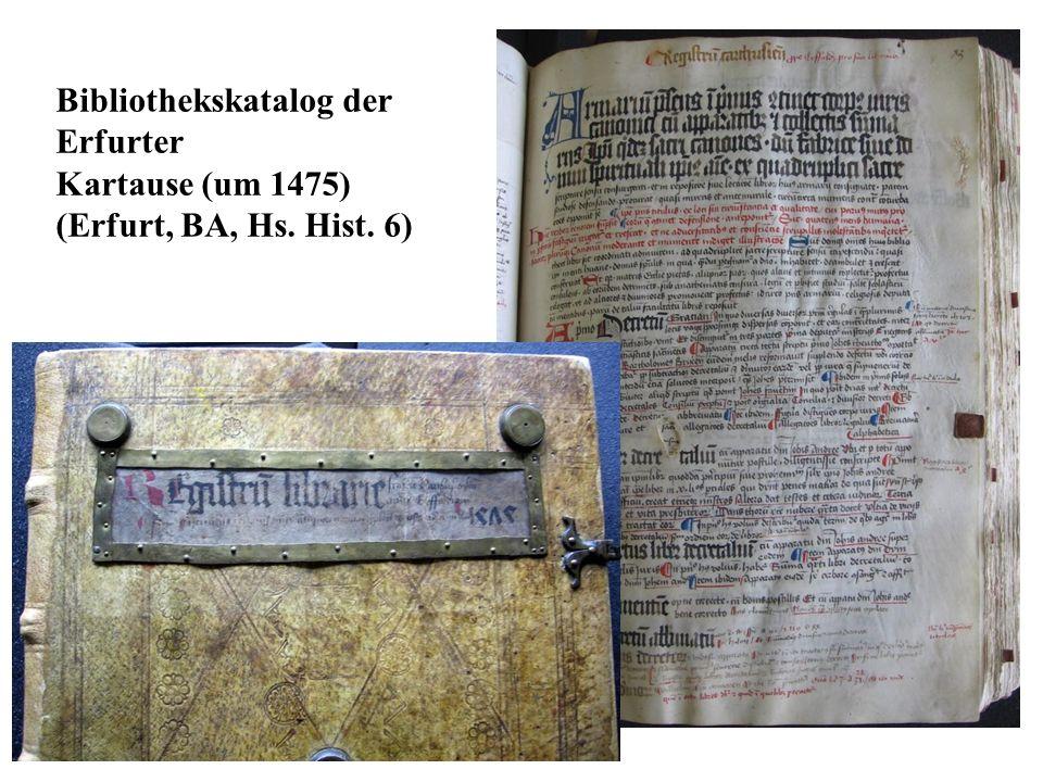 Bibliothekskatalog der Erfurter Kartause (um 1475) (Erfurt, BA, Hs