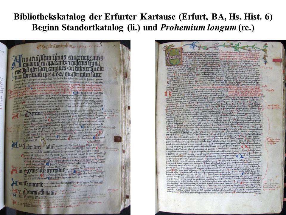 Bibliothekskatalog der Erfurter Kartause (Erfurt, BA, Hs. Hist