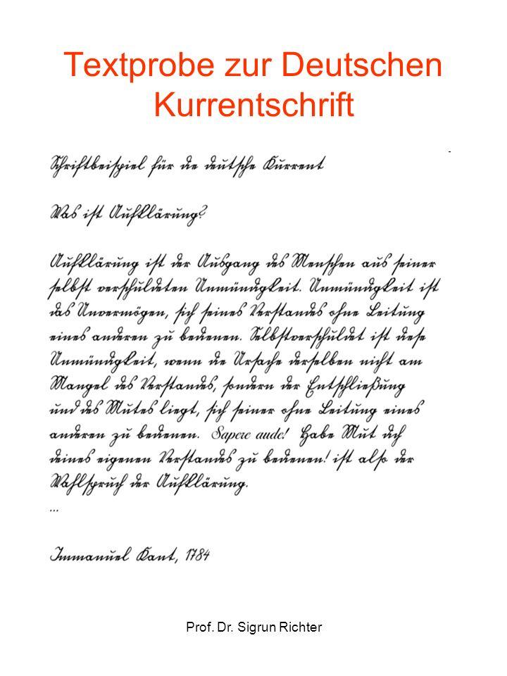 Textprobe zur Deutschen Kurrentschrift