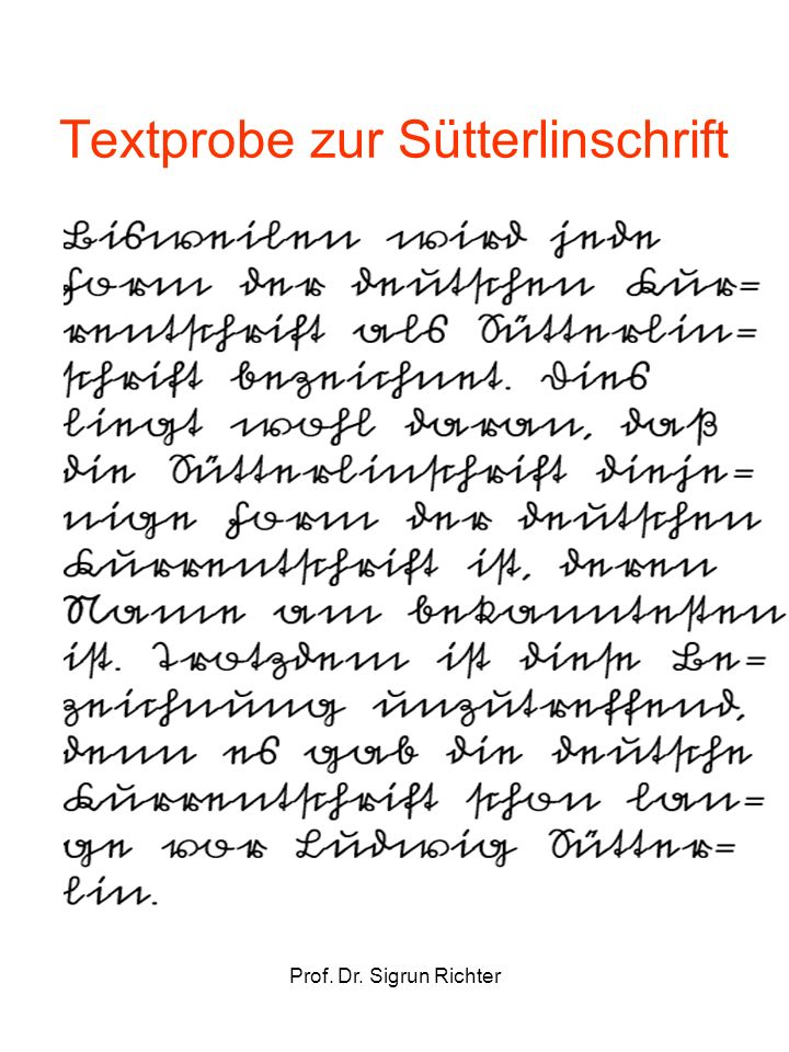 Textprobe zur Sütterlinschrift