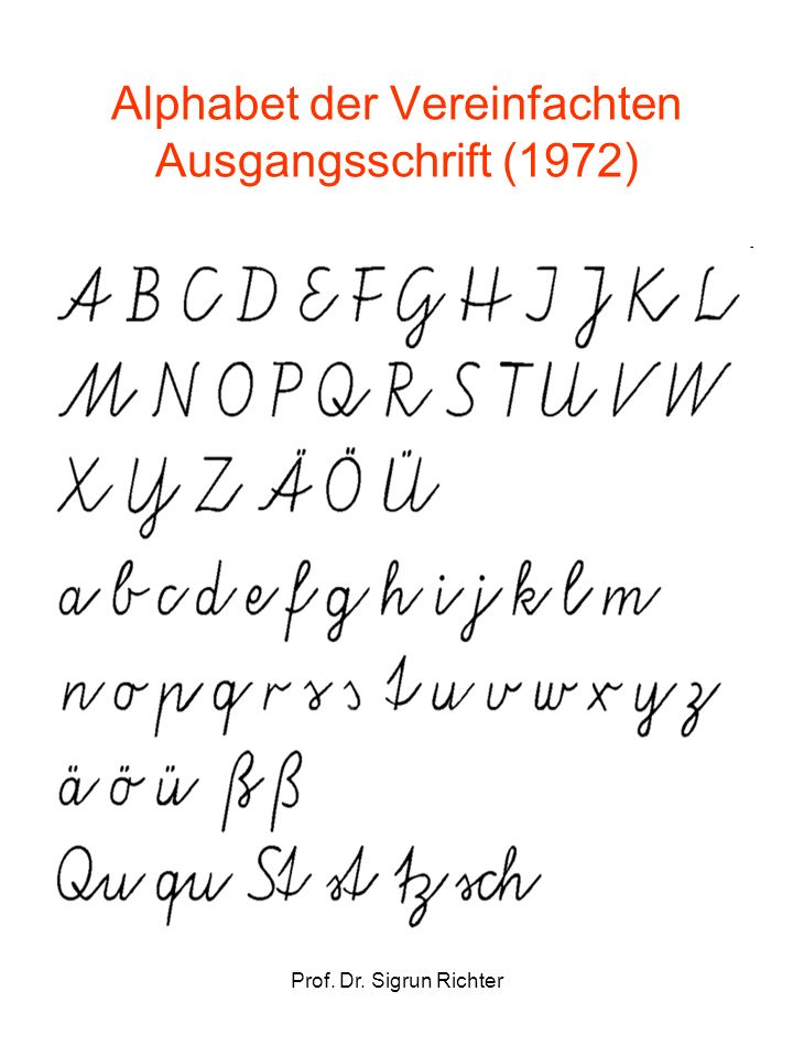 Alphabet der Vereinfachten Ausgangsschrift (1972)