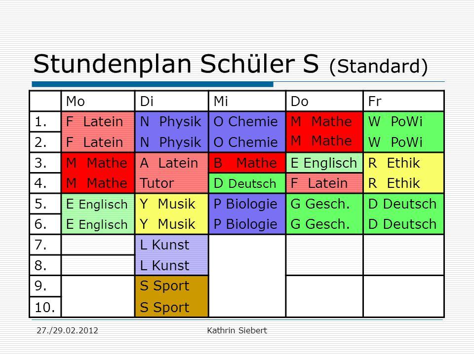 Stundenplan Schüler S (Standard)