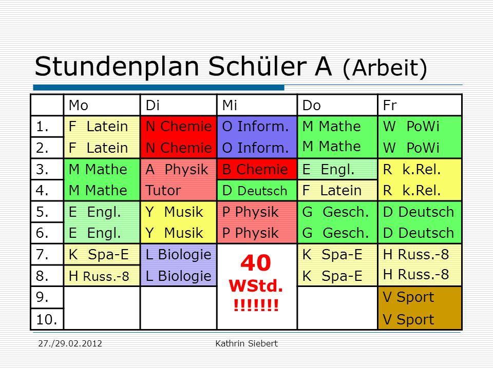 Stundenplan Schüler A (Arbeit)