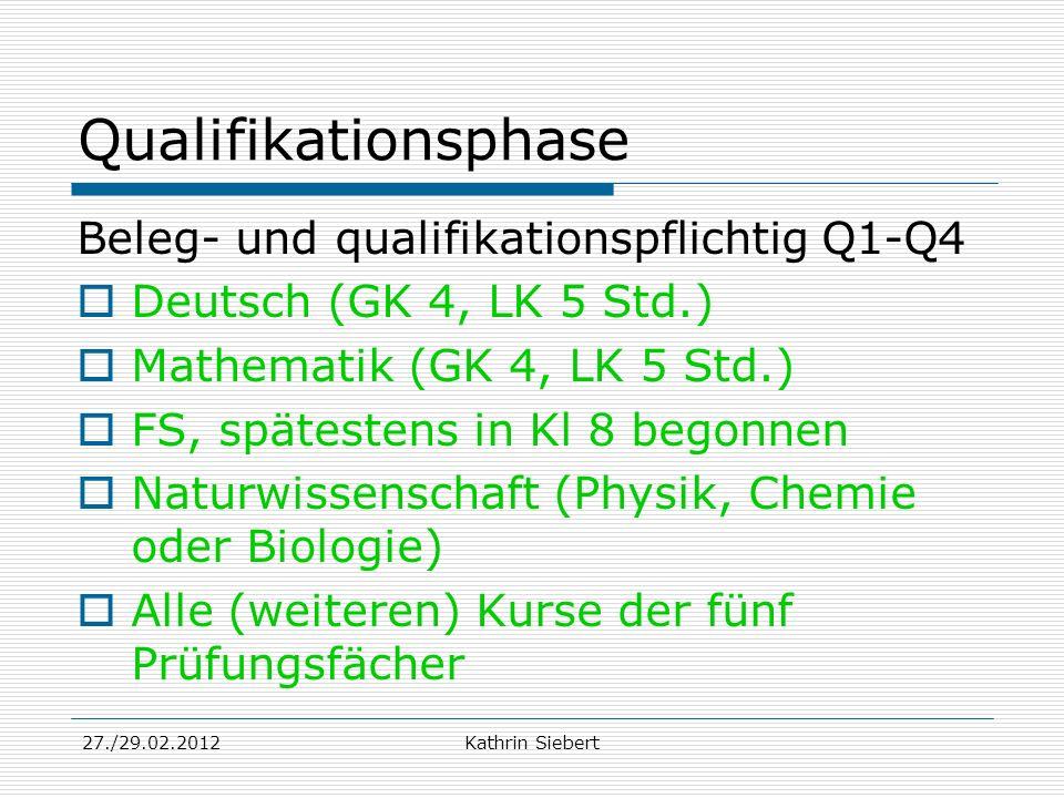 Qualifikationsphase Beleg- und qualifikationspflichtig Q1-Q4