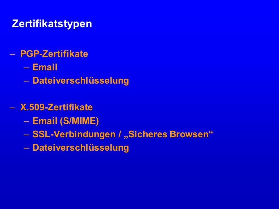 Zertifikatstypen PGP-Zertifikate Email Dateiverschlüsselung