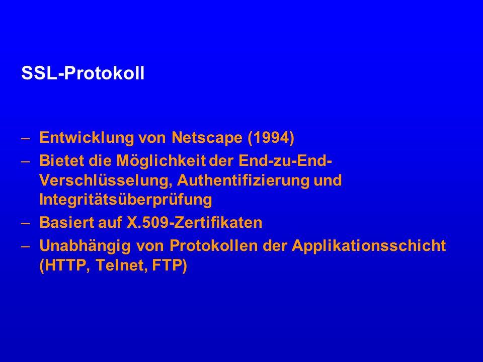 SSL-Protokoll Entwicklung von Netscape (1994)