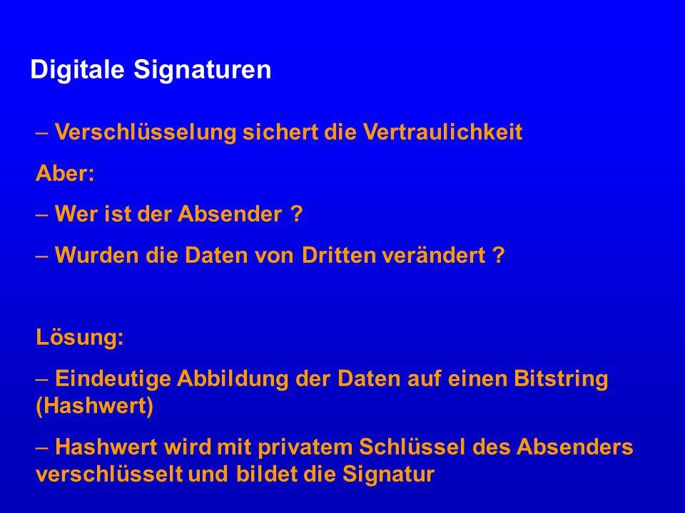 Digitale Signaturen Verschlüsselung sichert die Vertraulichkeit Aber: