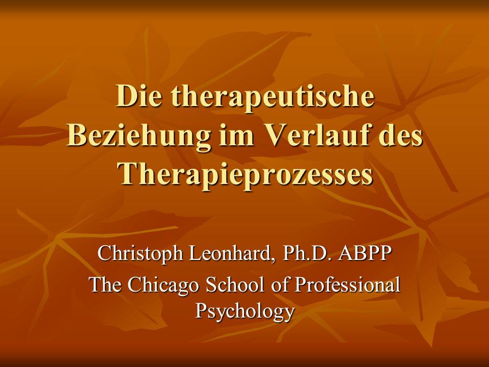 Die therapeutische Beziehung im Verlauf des Therapieprozesses