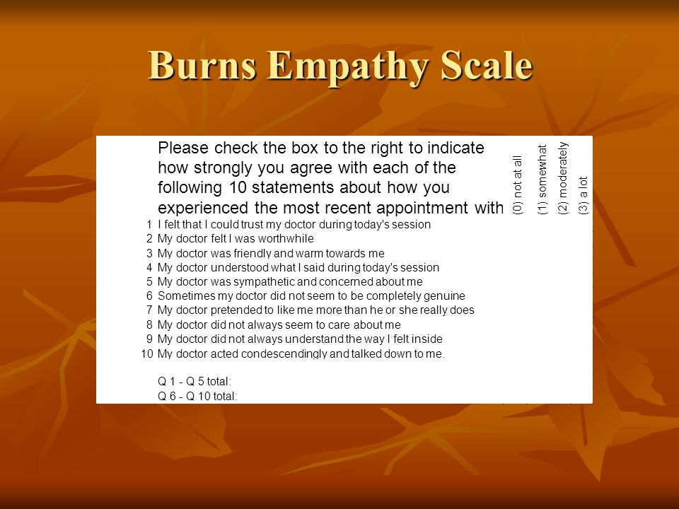 Burns Empathy Scale Please check the box to the right to indicate
