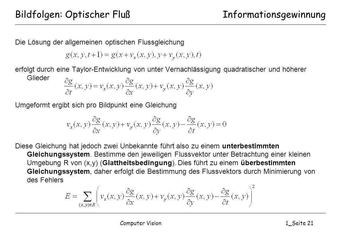 Bildfolgen: Optischer Fluß
