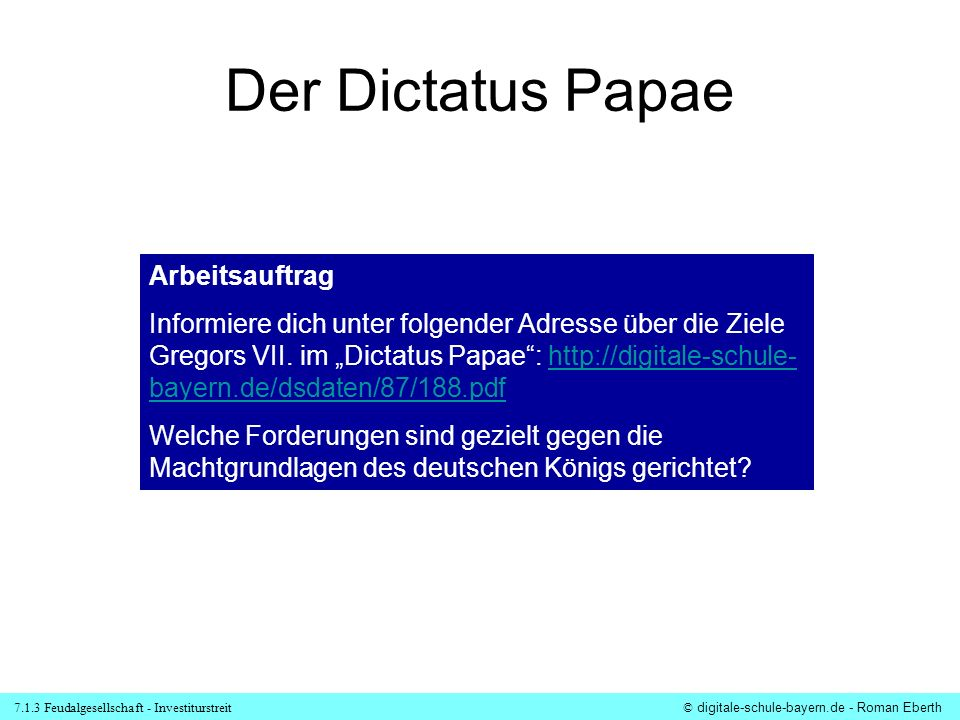 Der Dictatus Papae Arbeitsauftrag