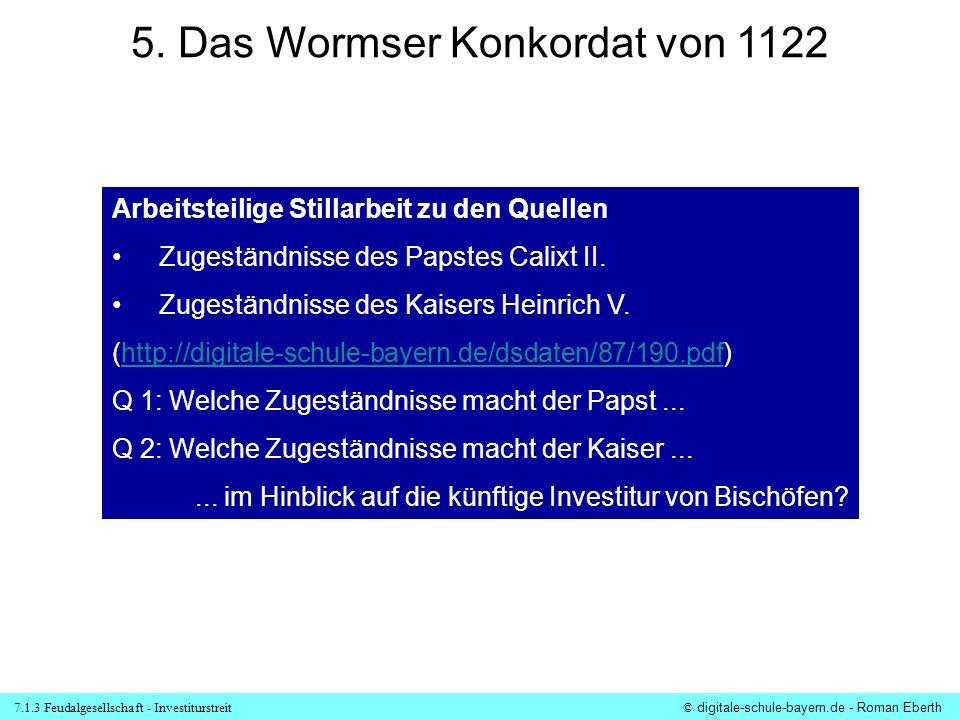 5. Das Wormser Konkordat von 1122