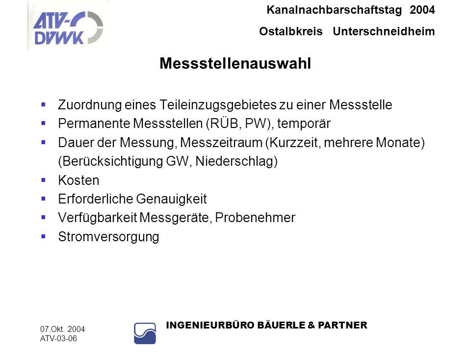 Messstellenauswahl Zuordnung eines Teileinzugsgebietes zu einer Messstelle. Permanente Messstellen (RÜB, PW), temporär.