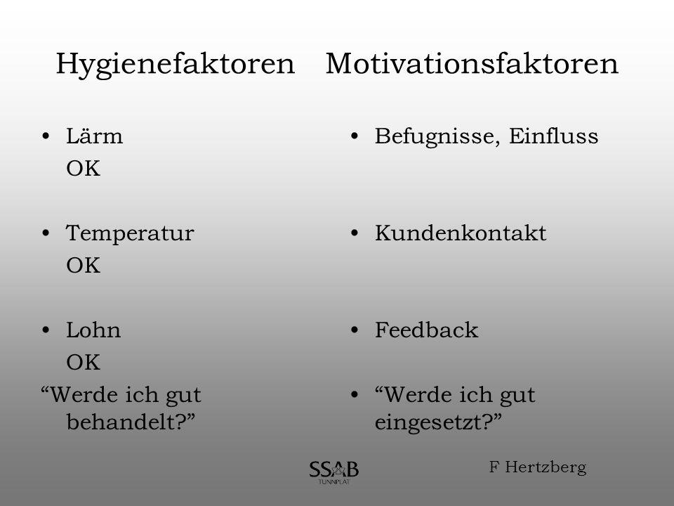 Hygienefaktoren Motivationsfaktoren