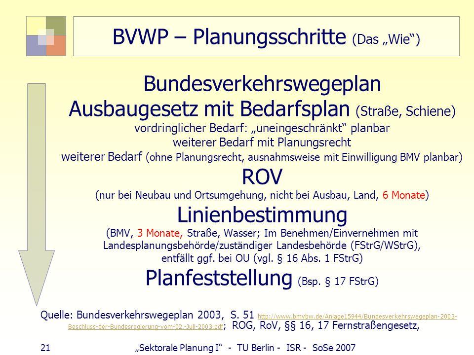 """BVWP – Planungsschritte (Das """"Wie )"""