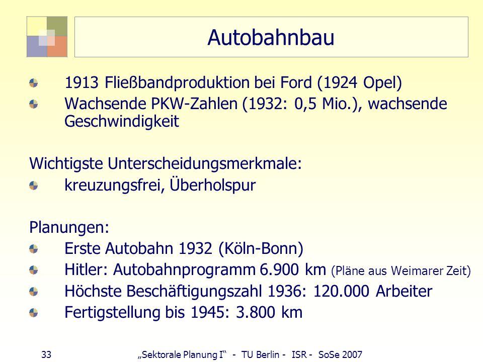 Autobahnbau 1913 Fließbandproduktion bei Ford (1924 Opel)