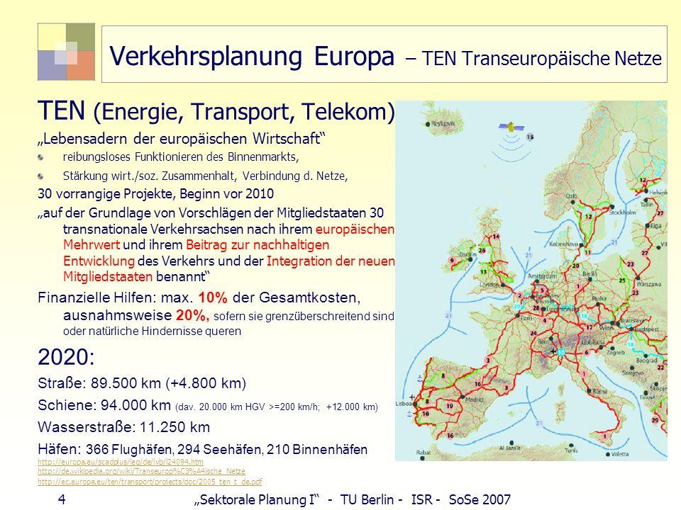 Verkehrsplanung Europa – TEN Transeuropäische Netze