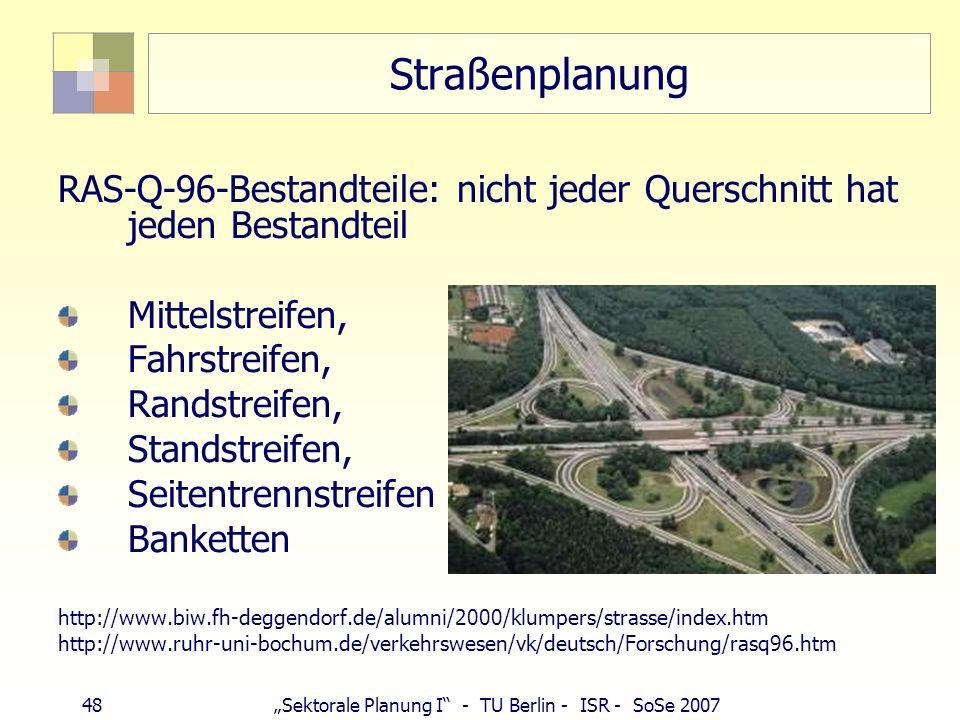 Straßenplanung RAS-Q-96-Bestandteile: nicht jeder Querschnitt hat jeden Bestandteil. Mittelstreifen,