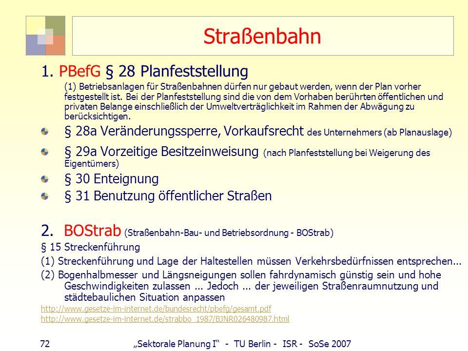 Straßenbahn 1. PBefG § 28 Planfeststellung