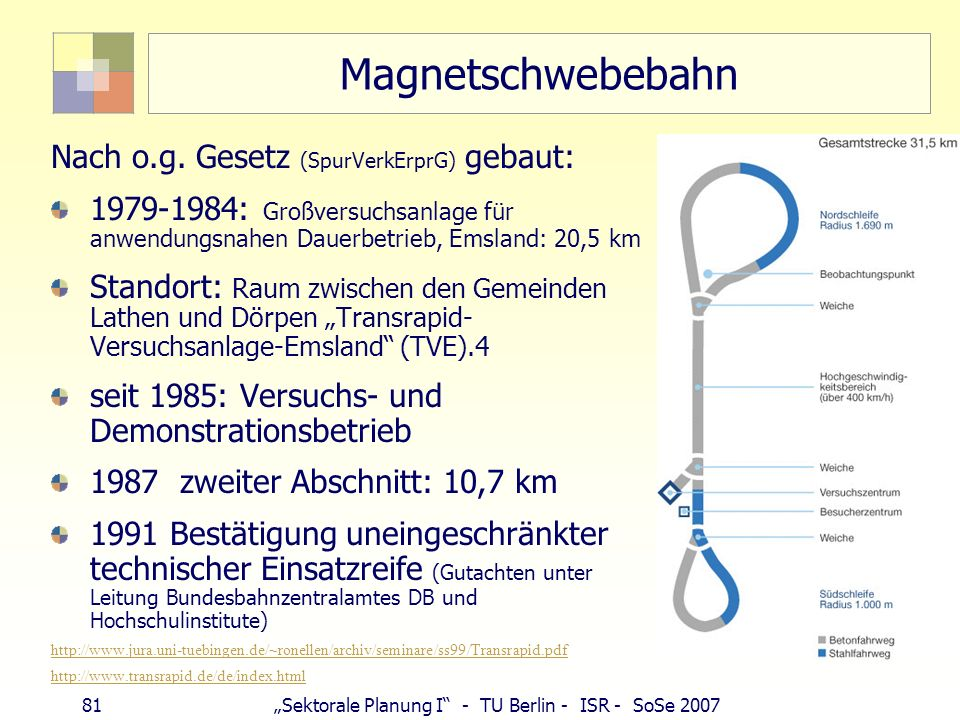 Magnetschwebebahn Nach o.g. Gesetz (SpurVerkErprG) gebaut: