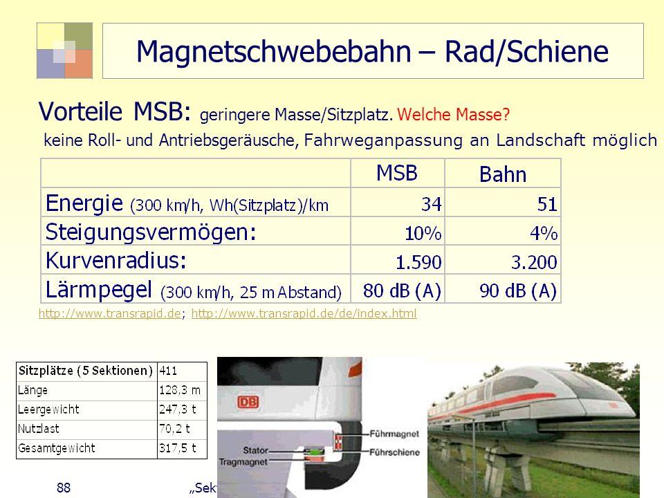 Magnetschwebebahn – Rad/Schiene