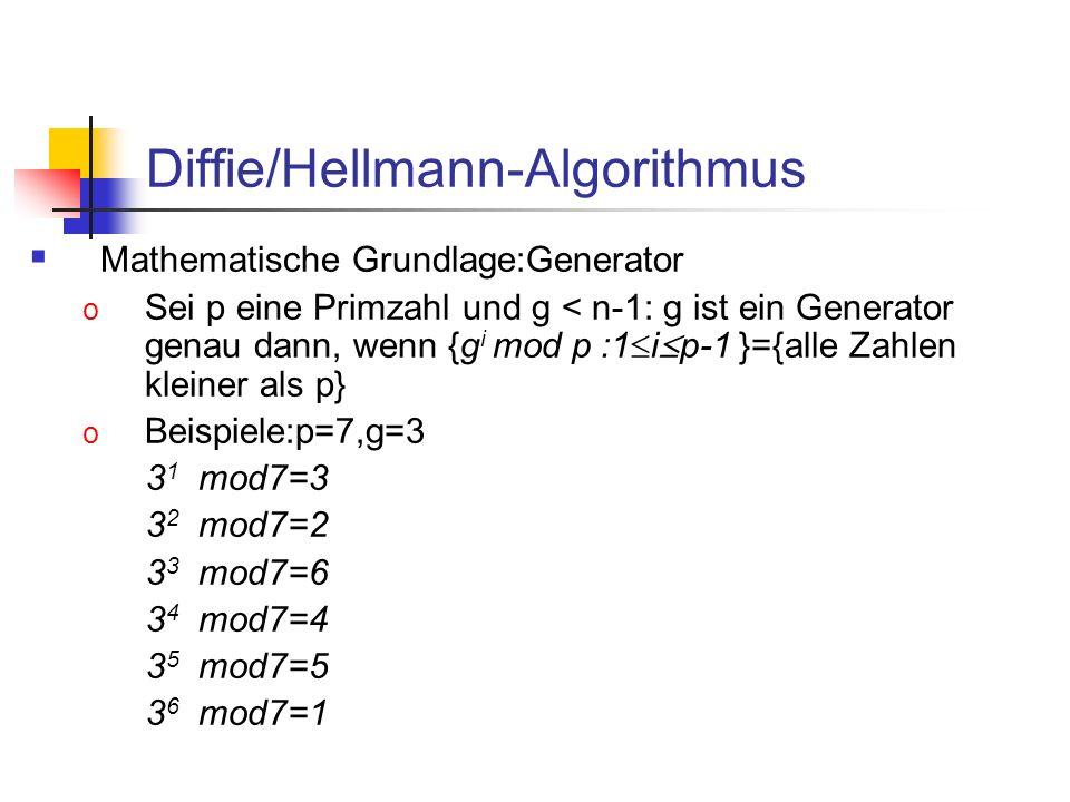Diffie/Hellmann-Algorithmus