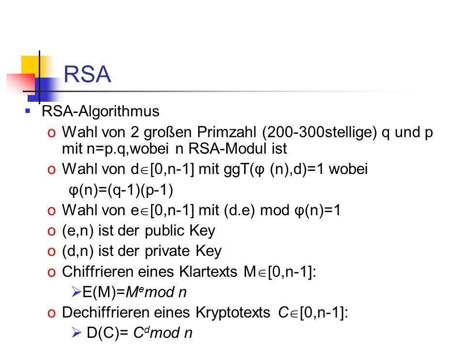 RSA RSA-Algorithmus. Wahl von 2 großen Primzahl (200-300stellige) q und p mit n=p.q,wobei n RSA-Modul ist.