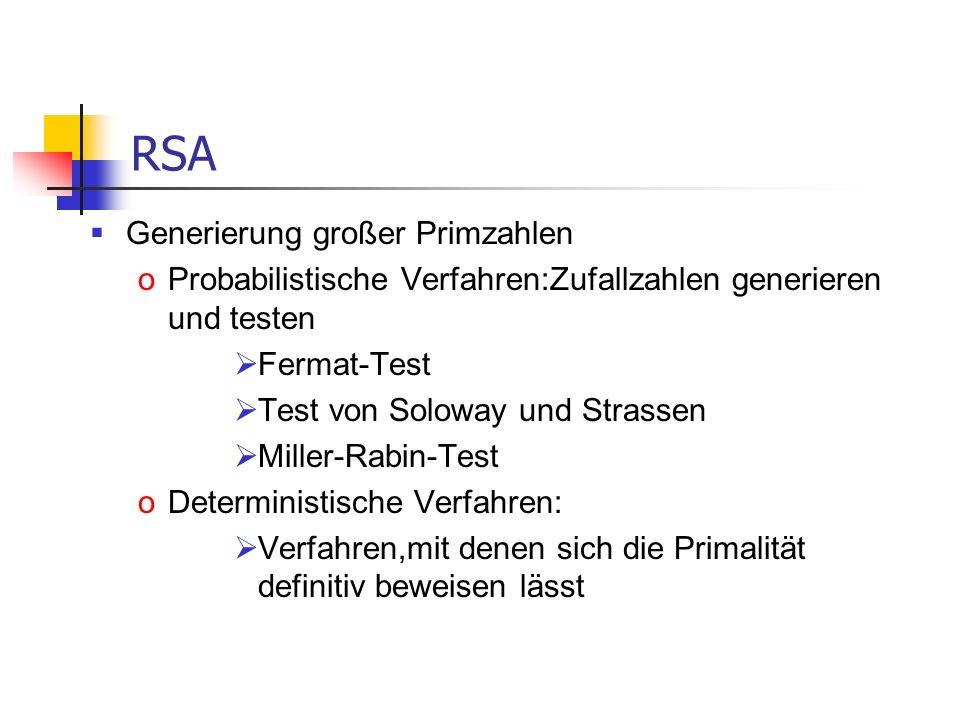 RSA Generierung großer Primzahlen
