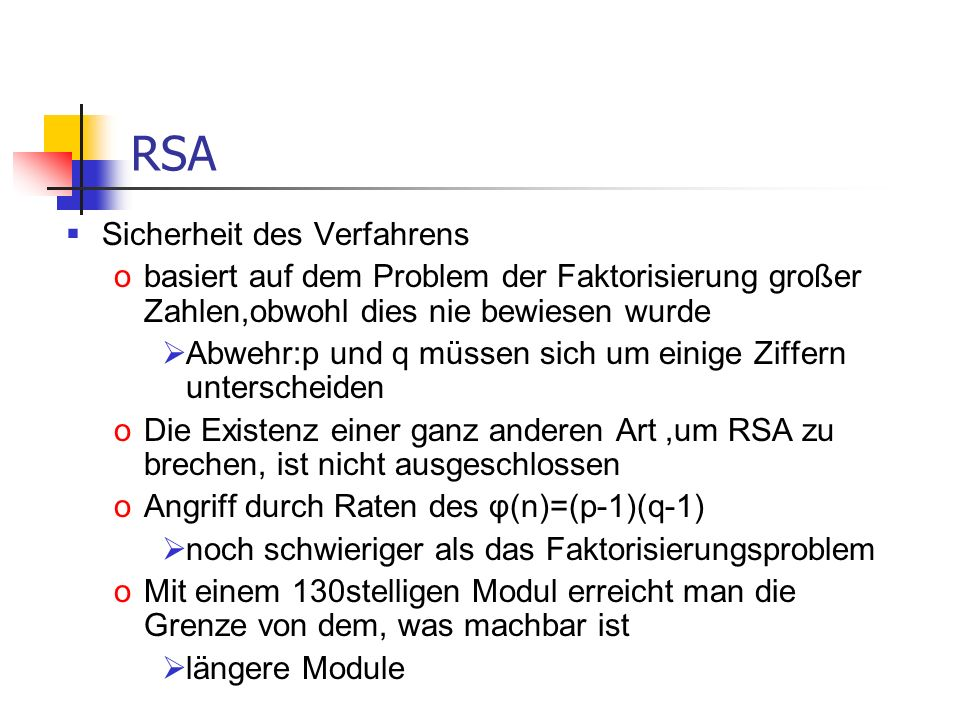 RSA Sicherheit des Verfahrens