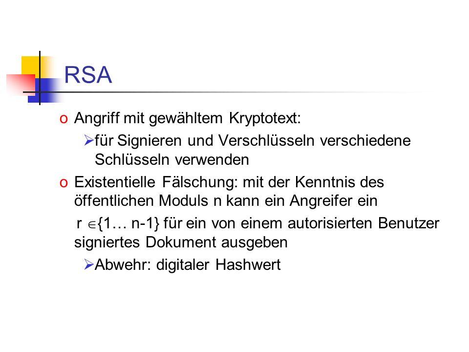 RSA Angriff mit gewähltem Kryptotext: