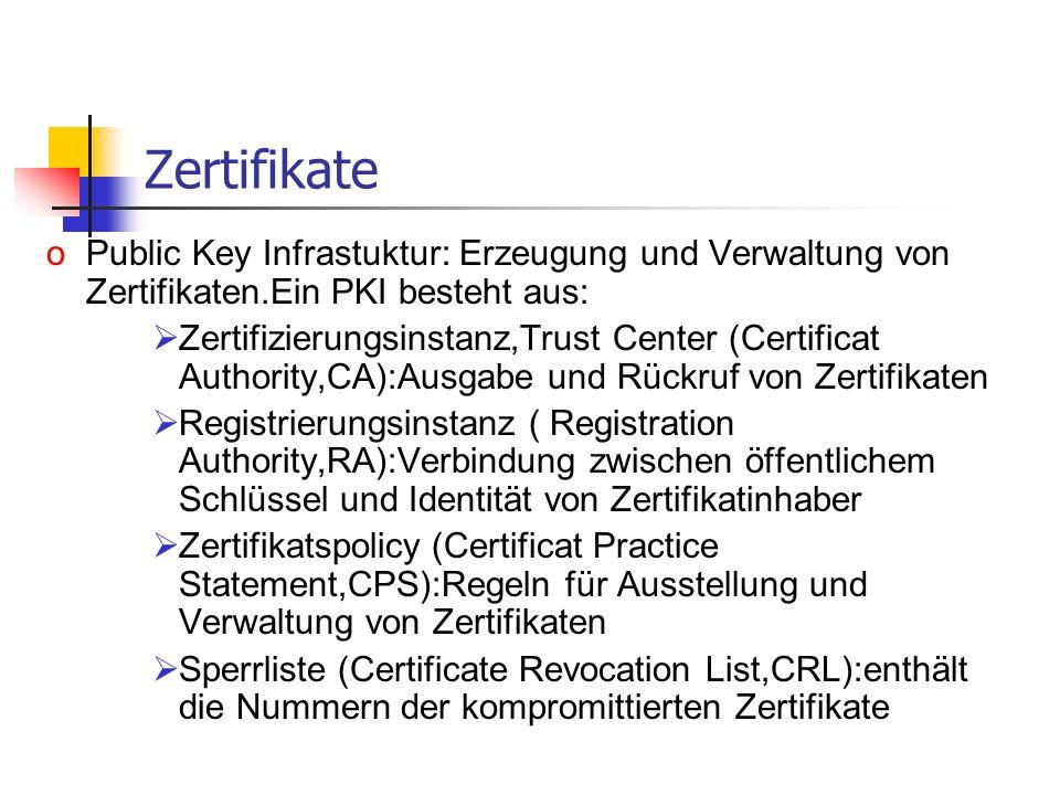 Zertifikate Public Key Infrastuktur: Erzeugung und Verwaltung von Zertifikaten.Ein PKI besteht aus: