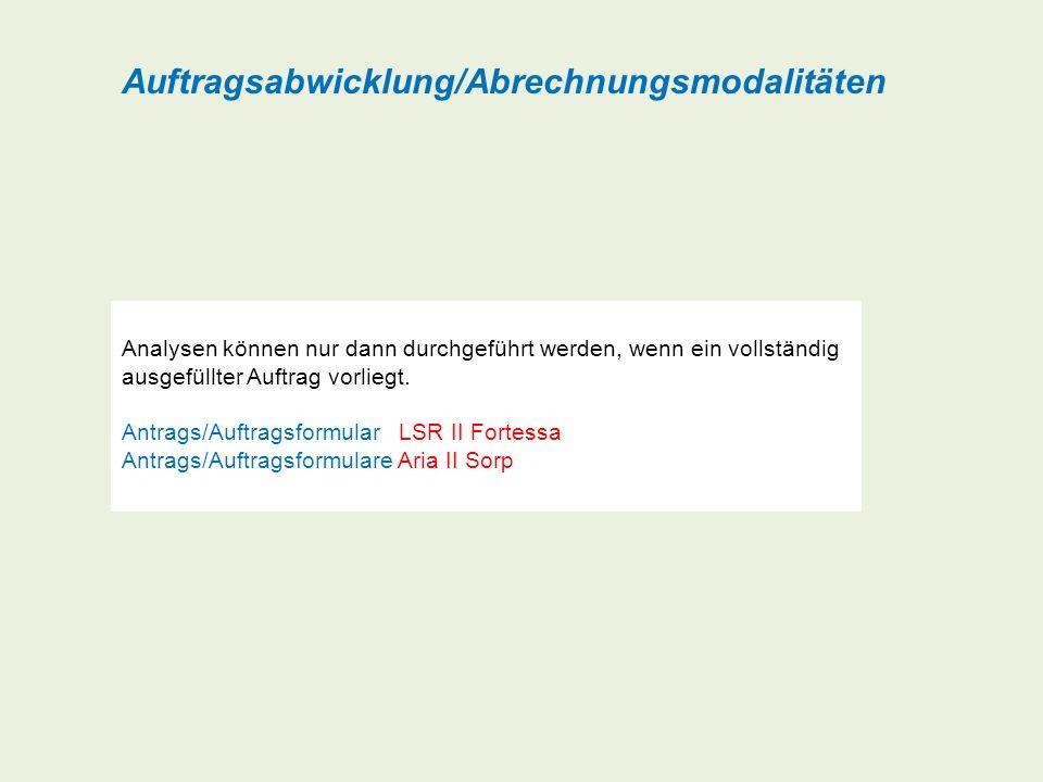 Auftragsabwicklung/Abrechnungsmodalitäten